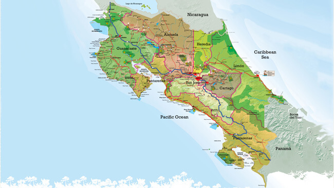 Costa Rica Facts Provinces The Capital Holidays - Costa rica regions map